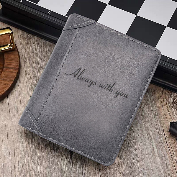 Retro Vertical Men's Photo Wallet Gray
