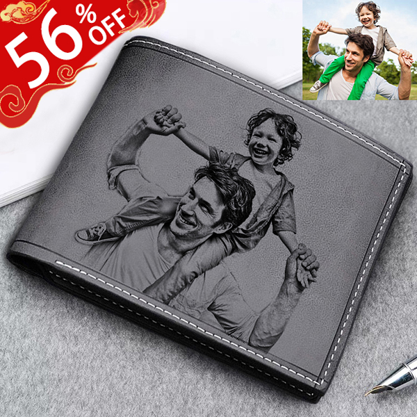 Personalized Photo Genuine Leather Men's Wallet - Black