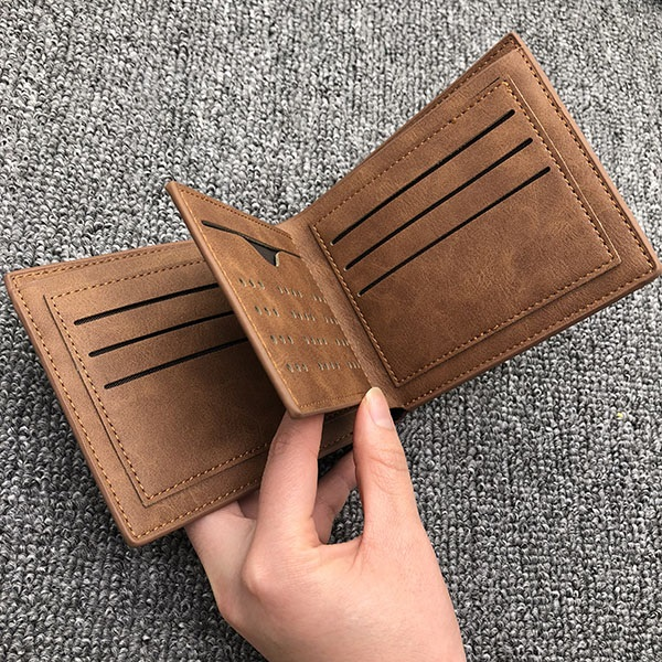 Vintage soft leather men's Trifold  wallet brown