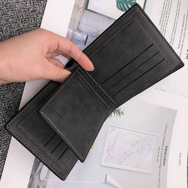 Double- Sided photo Vintage soft leather men's Trifold wallet black