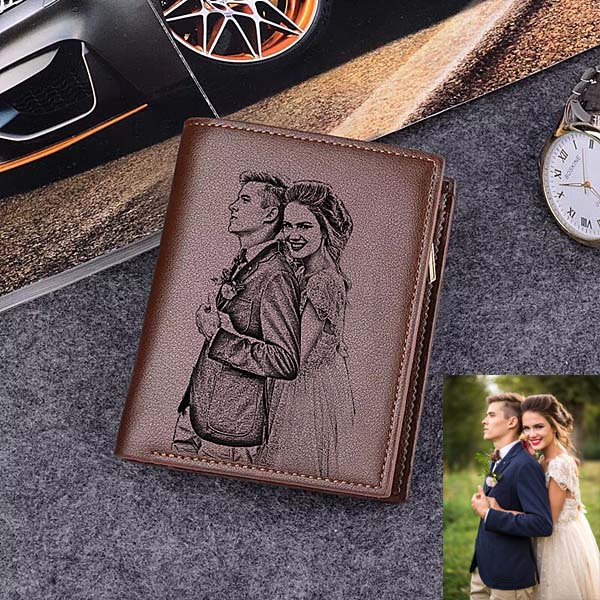 Double Sided Photo Trifold Vertical Wallet