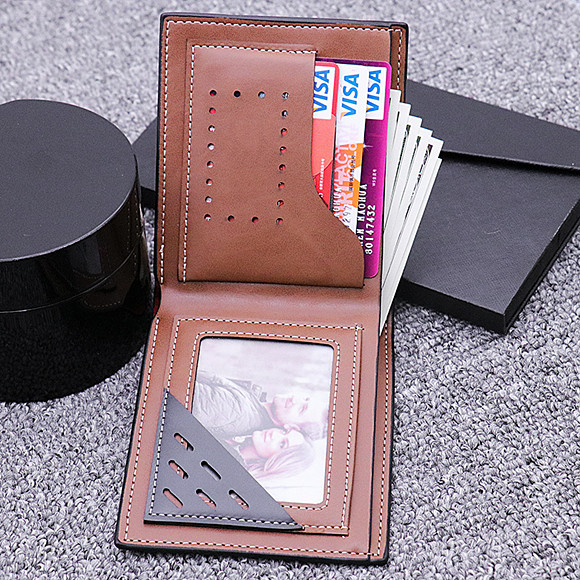 Personalized Doubled-Sided  Photo Genuine Leather Men's Wallet