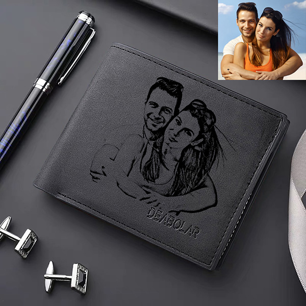 Personalized Photo Men's Flip Wallet Black