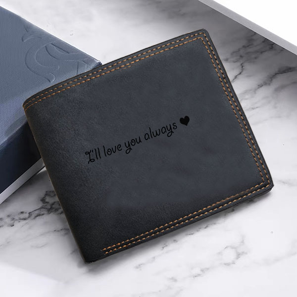 Vintage soft leather men's Trifold wallet black