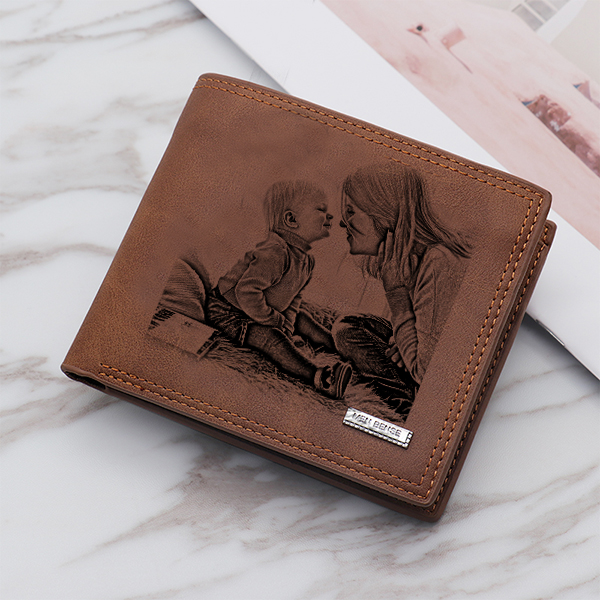 Double-Sided Photo Vintage soft leather men's Trifold  wallet brown