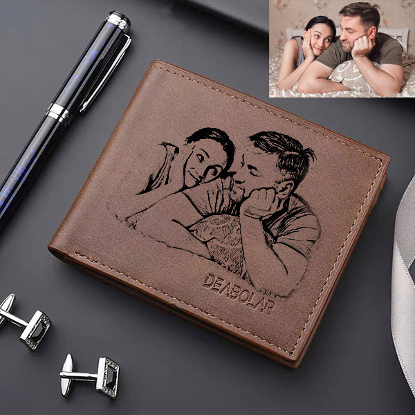 Personalized Photo Men's Flip Wallet Dark Brown