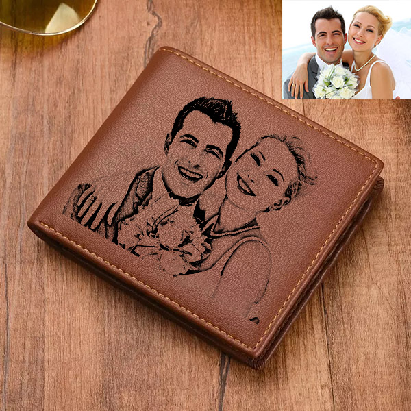 Personalized Double-Sided Leather Tri-fold Wallet