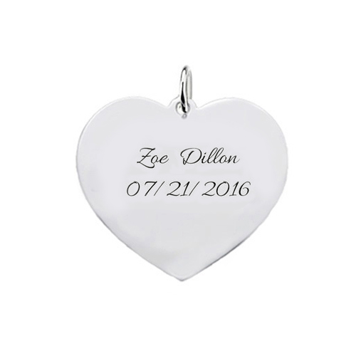 Photo-Engraved Heart Bracelet Silver