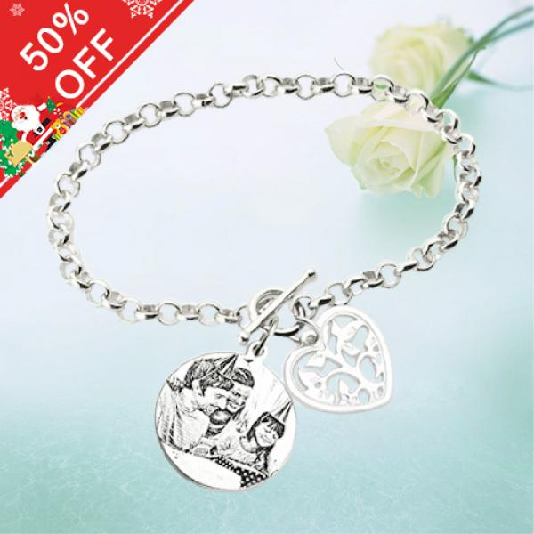 Engraved Photo Bracelet Silver