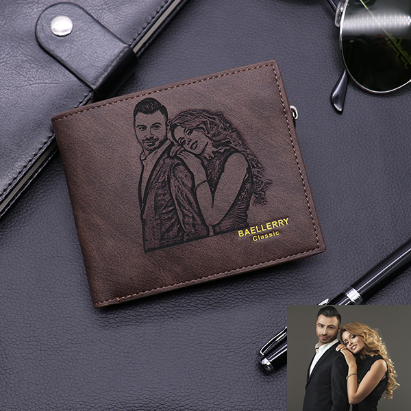 Custom Photo Men's Leather Tri-fold Wallet