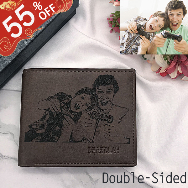 Personalized Double-Sided Photo Men's Flip Wallet Dark Brown
