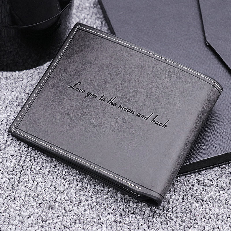 Photo Genuine Leather Men's Black Wallet