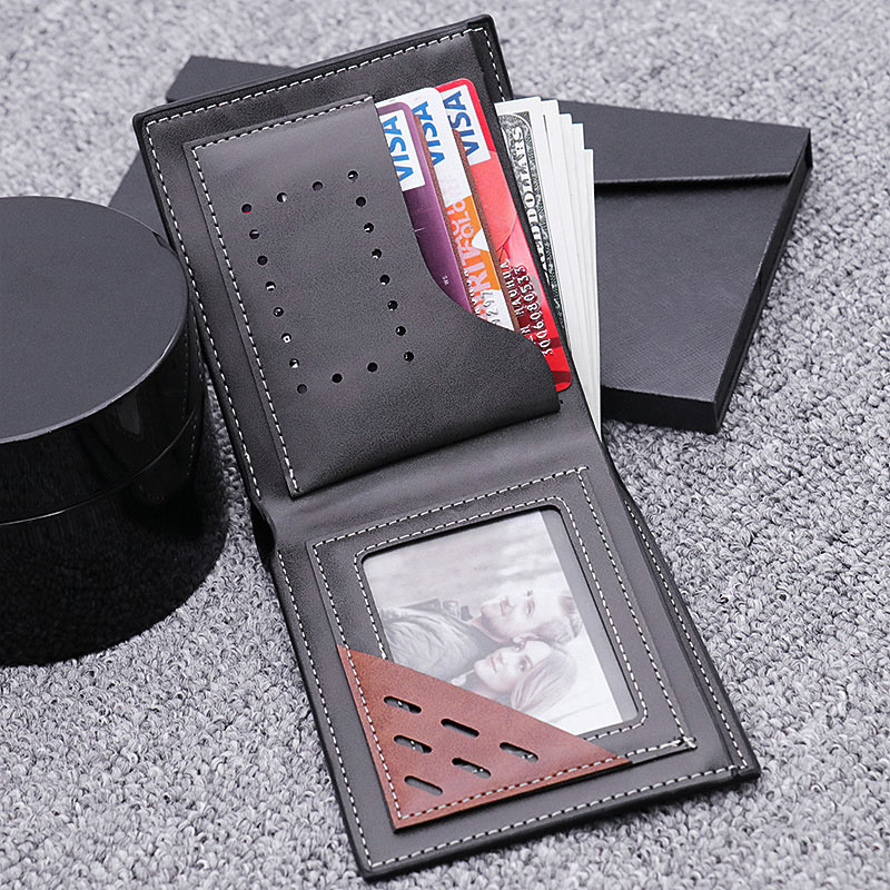 Double-Side Photo Leather Men's Black Wallet