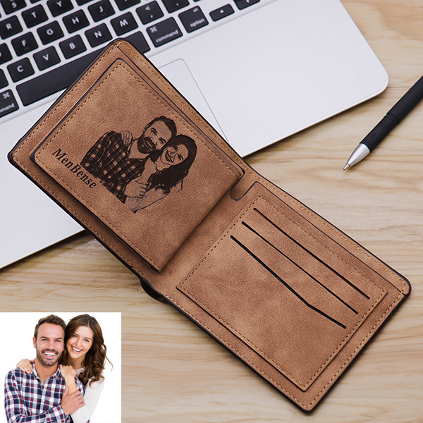 Men's waterproof short photo wallet soft leather