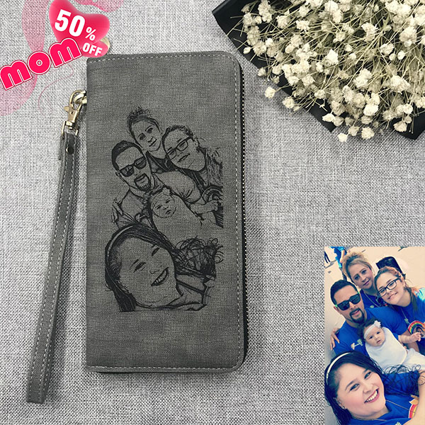Personalized Sketch Photo Women's Gray Wallet